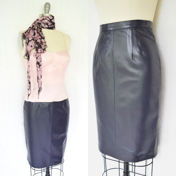 243ea7412 Collezione Dresses & Skirts - Vintage 80's COLLEZIONE blue leather pencil  skirt